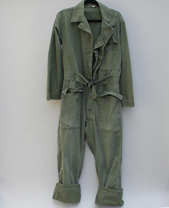 60s Vintage Men's Mechanic Jumpsuit / Flight Suit - MEDIUM (36R)