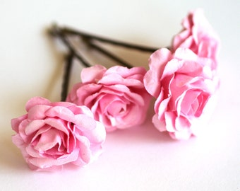 Pinkalicious Rose, Bohemian Wedding Hair Accessories, Bridal Pink Hair Flower, Brass Bobby Pins, Set of 4