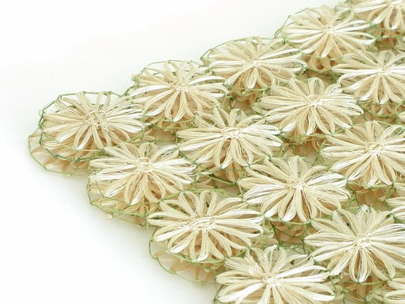 Flower Power Placemat Set 4 Abaca Daisies Mid Century 1960s