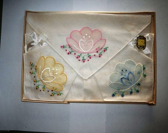 1930s Embroidered Pastel Floral Handkerchief Set - Original Box with Rocky Coast Shore