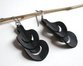 Upcycled Feather Earrings - eco friendly bike inner tubes - peacock feathers