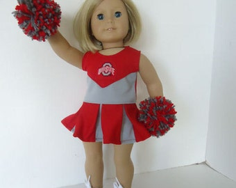 "American Doll 18"" Ohio State Cheerleader, Pompoms and gym shoes"