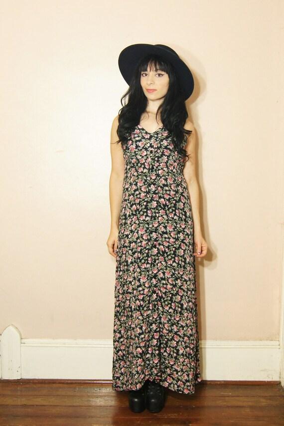 90s Grunge Floral Maxi Dress Medium Black Pastel Long Dress Boho Sleeveless
