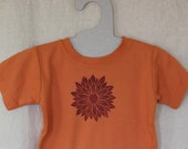 Red Flower T-shirt, Short sleeve, Hand-Dyed, Lino cut block print, 2T Size