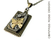Steampunk Necklace Square Mechanical Jewelled Watch Movement Victorian Butterfly Steam Punk Necklace Handmade by Compass Rose Design