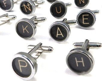 Vintage Typewriter Key Cufflinks - ANY 2 LETTERS - CUSTOM - Made with real typewriter keys