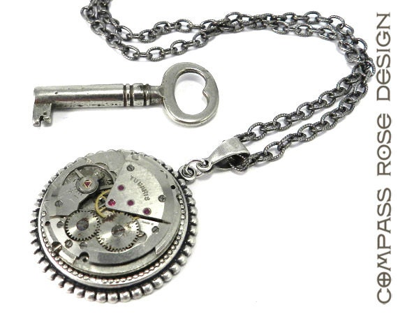 Steampunk Pendant - Silver Mechanical Watch Necklace - Ruby Jewel Swiss Watch Pendant