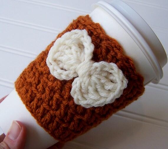 Crochet Coffee Cup Cozy Sleeve Pumpkin Spice by CrochetMarket