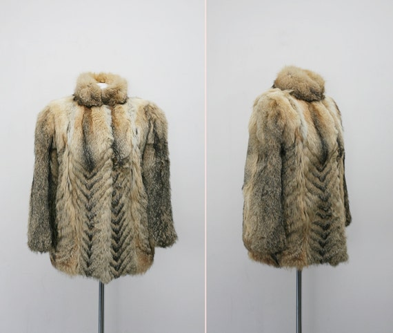 Vintage golden wolf fur coat with chevron pattern medium