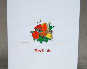 Floral Bouquet Thank You Folded Note Cards Thinking of You Note Card Set
