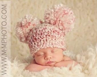 Newborn Pom Pom Hat, Newborn Photo Prop, Pom Pom Beanie, Baby Double Pom Pom Hat, Any Color, Photography Props, Baby Photography Prop