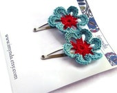 Crochet Flower Hairclips Red & Turquoise Flower Nature Accessories
