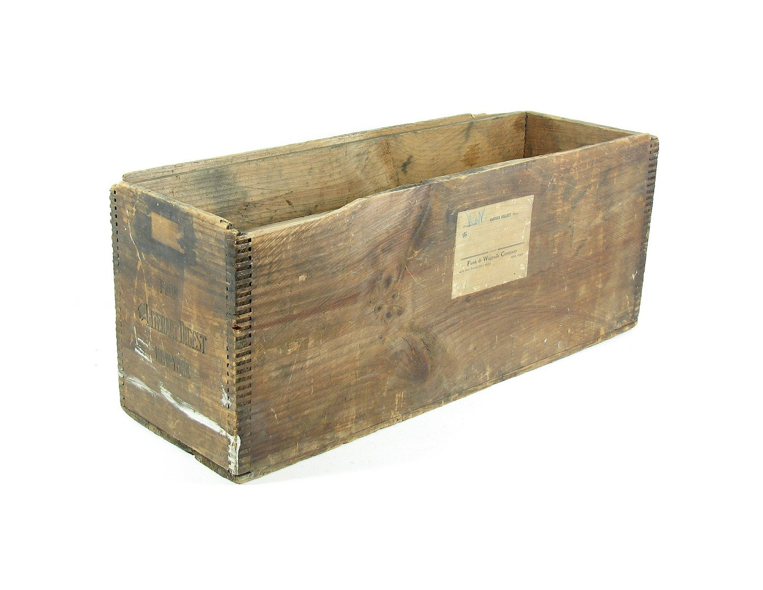 vintage wood crate large narrow crate funk and by