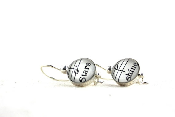 Star earrings.  Sterling drop kidney wire earrings made with vintage sheet music words stars shine