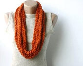 Burnt orange chain scarf - bulky yarn crochet  infinity halloween  fall autumn winter accessories