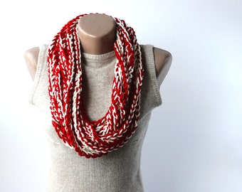 Crochet scarf infinity circle cowl loop necklace off white dark venetian red crochet chain fall fashion