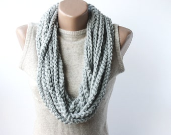 Black Friday Cyber Monday Infinity scarf chain loop scarf  grey gray scarves Unisex Valentines day gift