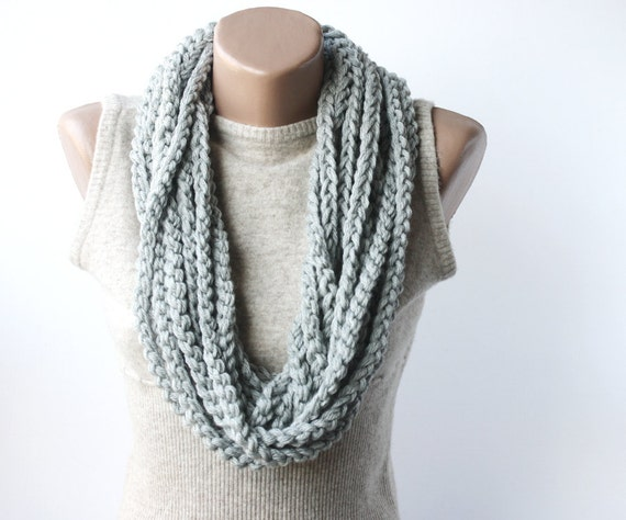 Infinity scarf chain loop scarf  grey gray scarves Unisex Valentines day gift