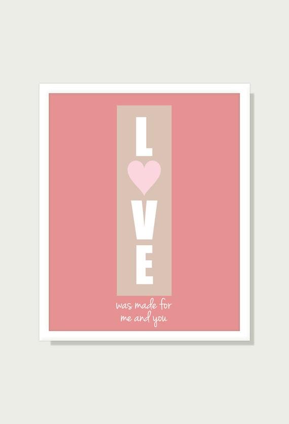 Citazione Art Digital Print: Anniversario Poster tipografici stampa Wall Decor - amore è stato fatto per Me e te - 8 x 10