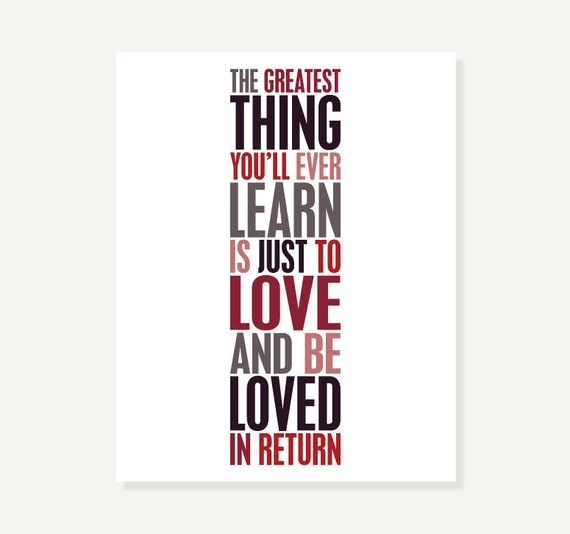 Quote Artwork Print - Love and Be Loved - Typographic Poster Print (Red Black White)