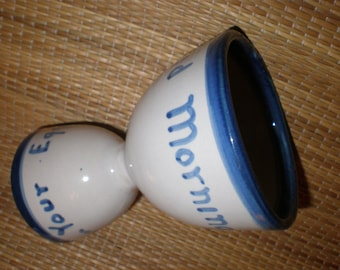 Egg Cup Stoneware Double Sided Farmhouse Primitive Cobalt Decorated Breakfast Cutie - Unusual