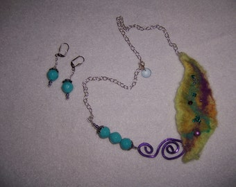Nuno Felted Necklace and Earring Set....Unique and Special and Colorful