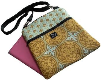 Aqua Gold Beige Flowers Medallion Fabric iPad Kindle Nook Color E Reader Passport Travel Messenger Bag Sling Washable Moroccan TIles