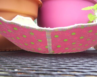 Decorative pink and lime green polka dot fabric bowl