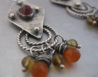 Artisan Sterling Silver Earrings with Garnets, Citrine and Orange Carnelian