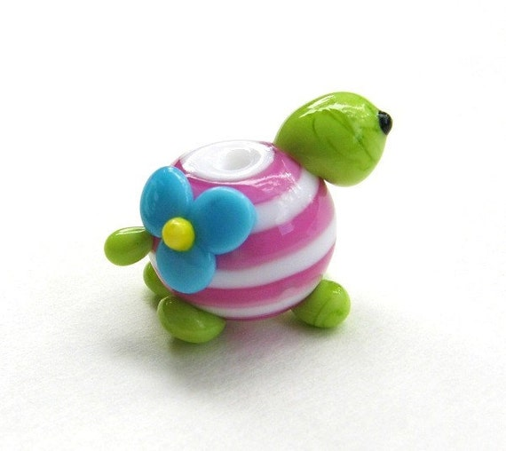 Lampwork Turtle Bead Glass charm - Pink and White - CLOSEOUT SALE
