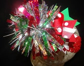Christmas Spikey Hairbow with Headband..Great for newborn toddler big girl wear and pictures