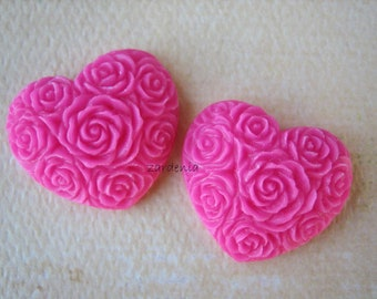 2PCS - Heart Flower Cabochons - Resin - Hot Pink - 19x21mm - Cabochons by ZARDENIA