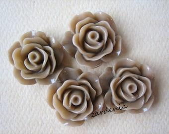 4PCS - Rose Cabochons - Glossy - 18mm - Latte - Cabochons by ZARDENIA