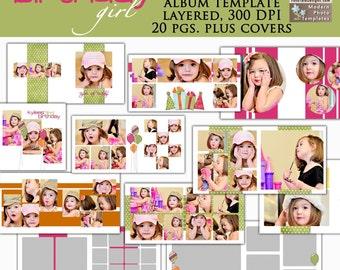 Birthday Girl 10x10 Photo Album- custom photo templates for photographers on WHCC and ProDigitalPhotos Specs