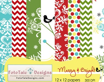 Merry and Bright Digital Paper Pack - 8 high resolution 12x12 digital papers