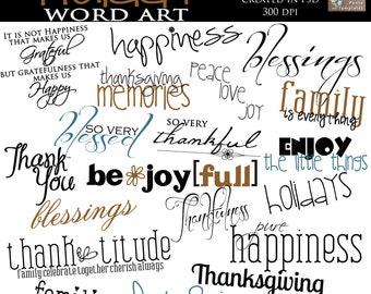 INSTANT DOWNLOAD - Holiday Word Art Collection - 20 Quotes, Words and ClipArt- sayings for collages, scrapbook pages, cards, etc