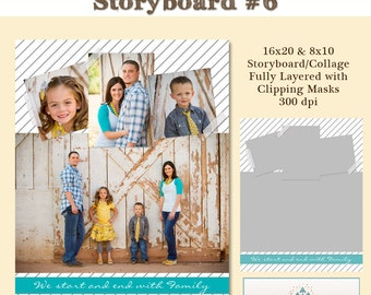 INSTANT DOWNLOAD - 16x20 Storyboard Collection 2, Collage 6 - custom 16x20 and 8x10 photo collage/storyboard template for photographers