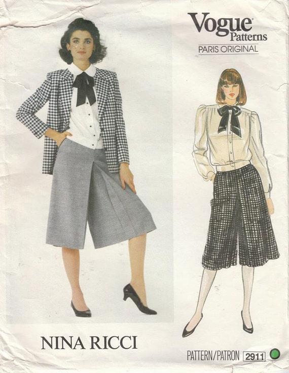 Vintage NINA RICCI 1980s Vogue Paris Original Culottes Blouse Jacket Pattern