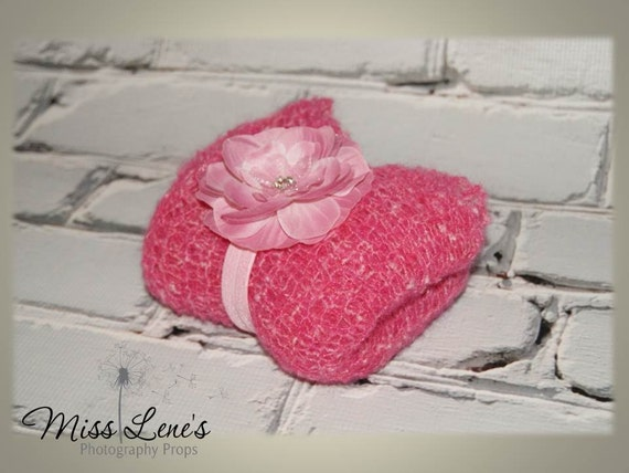 Newborn Wrap and Headband Set, Blanket, Stretchy Lacy Mohair Wrap, Pink Flower Headband,All Pink, Newborn  Baby Girl Photography Prop, RTS