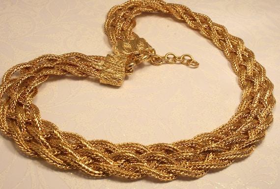 Vintage Monet gold tone plaited mesh necklace