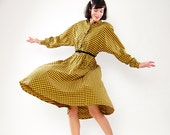 Vintage 1980s Dress - 80s Shirtwaist Dress - Yellow & Black Checkered