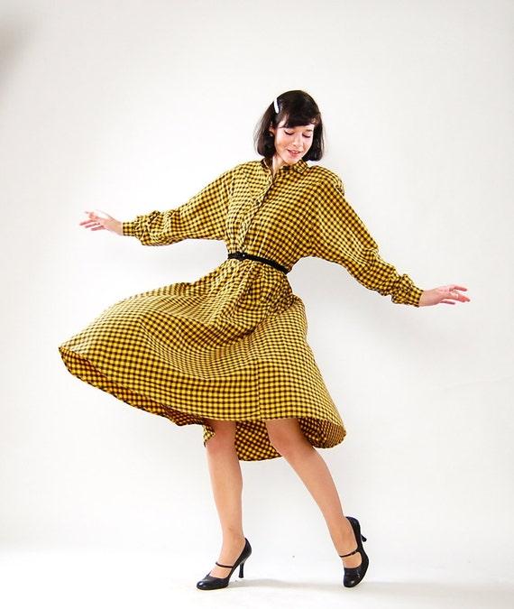Vintage 1980s Dress - 80s Shirtwaist Dress - Yellow & Black Checkered
