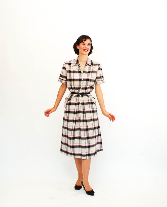 Vintage 1940s Plaid Dress - 40s Day Dress - Black White Red Plaid