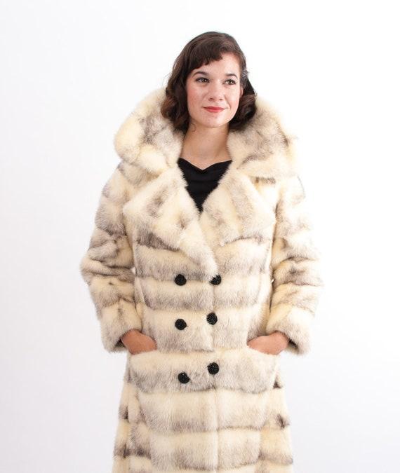 Vintage 1970s Fur Coat - 70s Fur Coat - Black and White Cross Mink