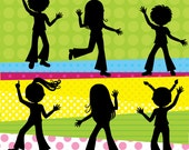 Digital Clip Art - Disco Party for Kids - Disco Children Silhouette