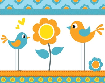 Flower and Birds in Turquoise and Orange - digital clip art