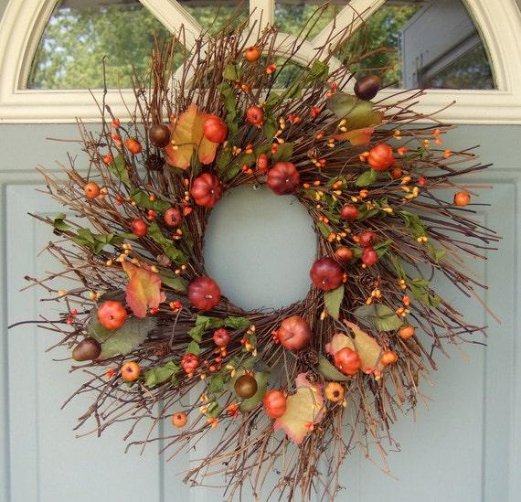Fall Wreath - Wreath for Fall - Wreath for Door - Halloween Wreath - Pumpkin Wreath - Berry Wreath