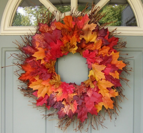 Fall Wreath - Fall Wreath with Leaves - Fall Door Wreath