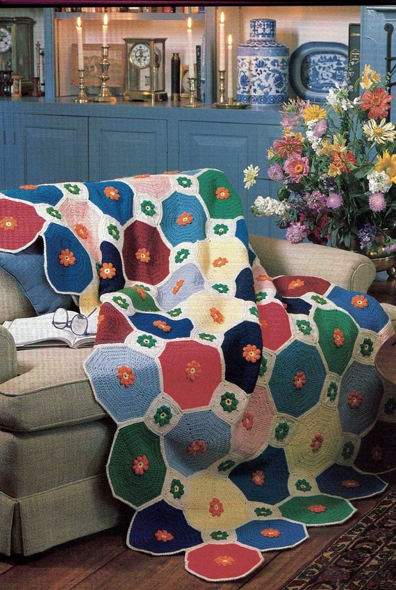 Vintage Octagon with Diamonds Crochet Blanket Afghan Crochet Pattern PDF242