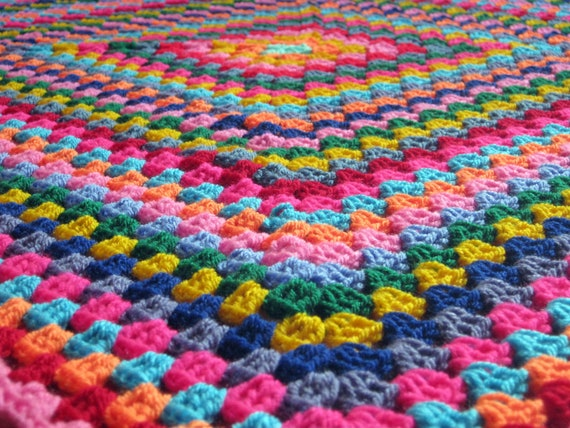 Harlequin Colourful Granny Square Retro Style Crochet Afghan Blanket